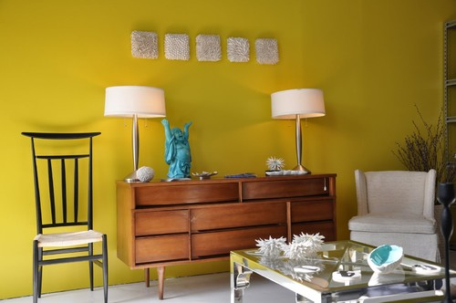Modern Living Room design turquoise and yellow