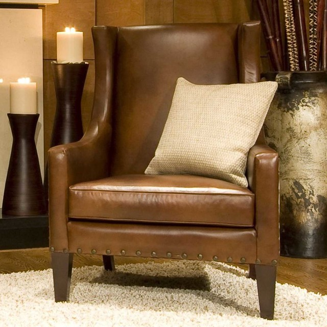 ELEMENTS Fine Home Furnishings Bristol Top Grain Leather Accent ...