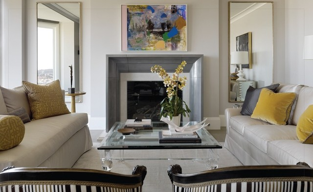 Elite Mantel in Cold Cast Pewter - Francois & Co. traditional-living-room