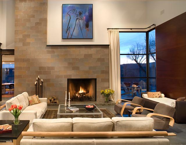 Elk vu ranch modern living room denver by west for Living room elevation