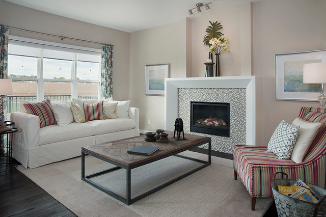 Ellerton Show Home in Heron Pointe (Airdrie, AB) transitional-living-room