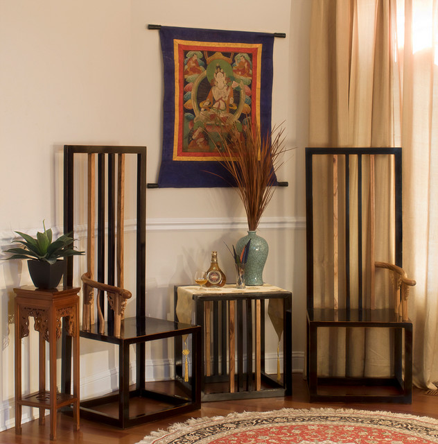 Elmwood Chinese Style Zen Chair Set Asian Living Room
