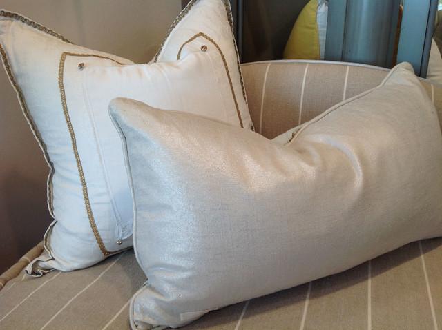 Embellished Metallic Pillows - Traditional - Living Room - Los Angeles - by Quatrine Custom ...