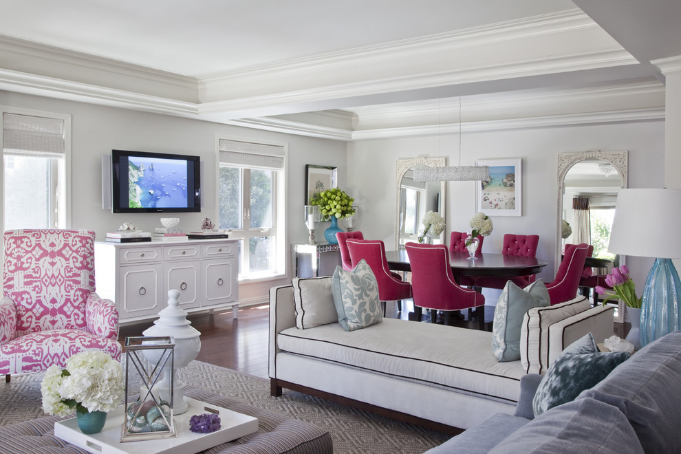 Inspiration for a timeless living room remodel in Los Angeles with white walls and a wall-mounted tv