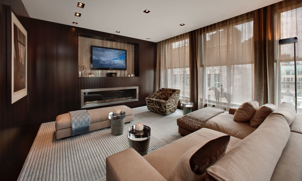 Example of a mid-sized minimalist formal and open concept carpeted and gray floor living room design in New York with brown walls, a ribbon fireplace, a metal fireplace and a wall-mounted tv