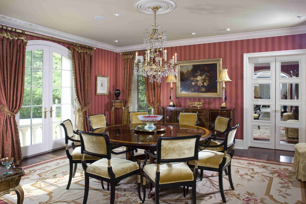 Large elegant enclosed carpeted living room photo in Philadelphia with red walls