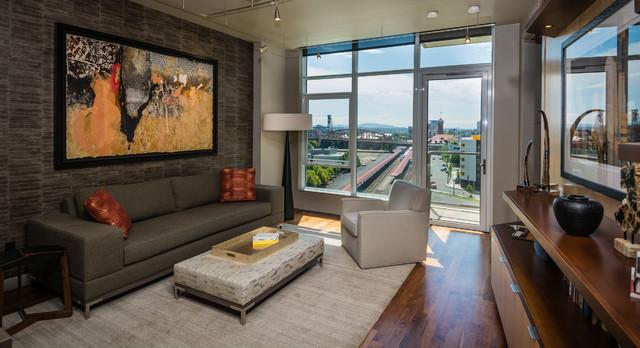 Encore Condo In The Portland Pearl District Contemporary Living Room