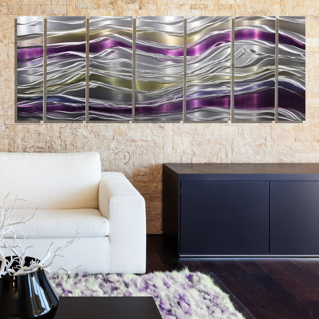 Endeavor Abstract Purple Silver And Gold Modern Metal Wall Decor Modern Dining Room Miami By Jon Allen Fine Metal Art Houzz Uk