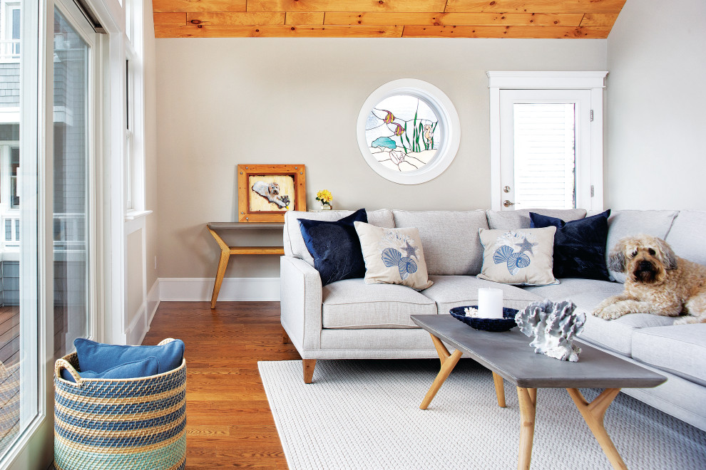 Example of a beach style living room design in New York