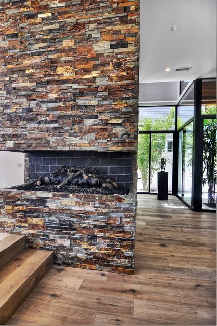 Engineered White Oak Plank Contemporary Living Room