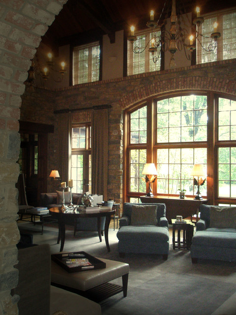 English Country House transitional-living-room