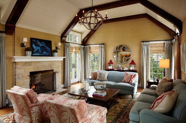 English Manor Renovation Traditional Living Room
