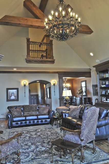 English Tudor Mediterranean Living Room Oklahoma