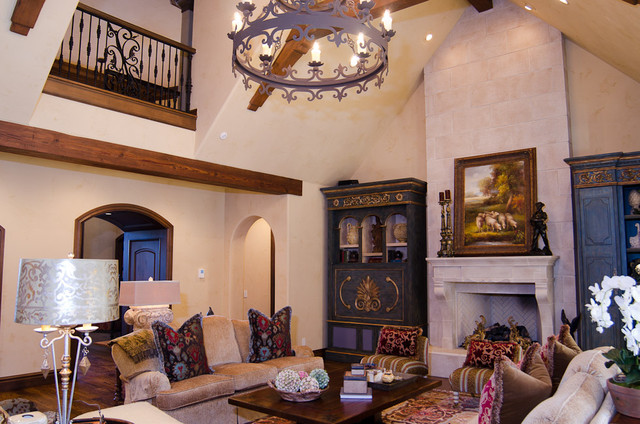 English Tudor Estate Mediterranean Living Room