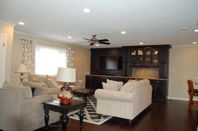 Example of a transitional living room design in Indianapolis