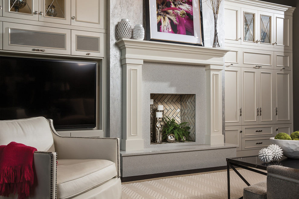 Inspiration for a large transitional formal and open concept dark wood floor and brown floor living room remodel in Minneapolis with gray walls, a standard fireplace, a stone fireplace and a media wall