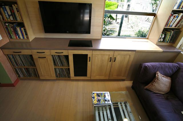 Entertainment Center Concrete Countertop contemporary-living-room
