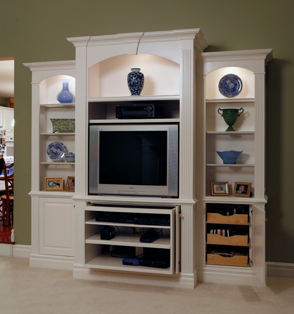Entertainment center with decorative shelving for Living room entertainment centers