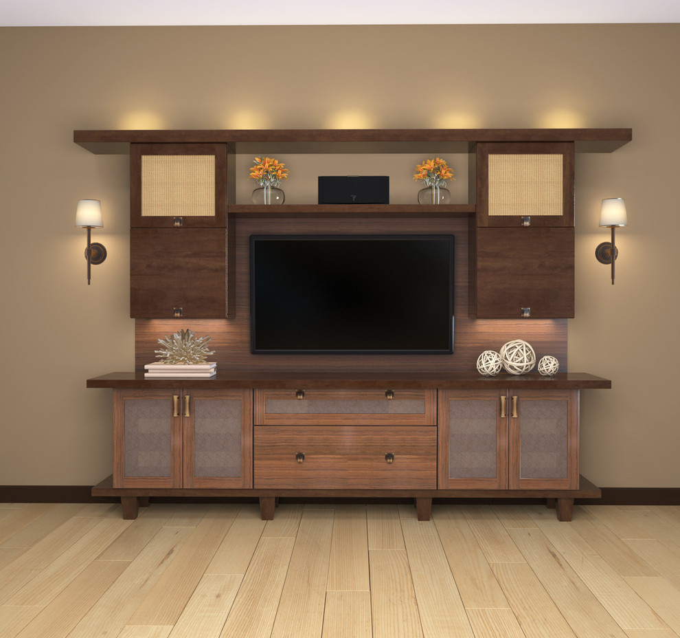 Example of a small trendy open concept light wood floor living room design in Los Angeles with beige walls, a wall-mounted tv and no fireplace