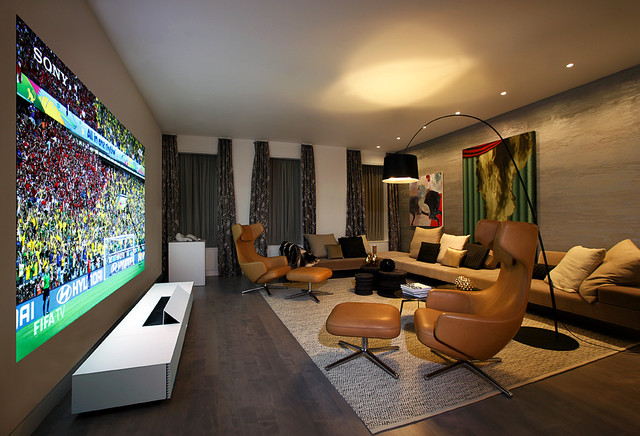 Entertainment Living Room Designed By Ddc For Sony 4K Ultra Short Throw Projec Modern