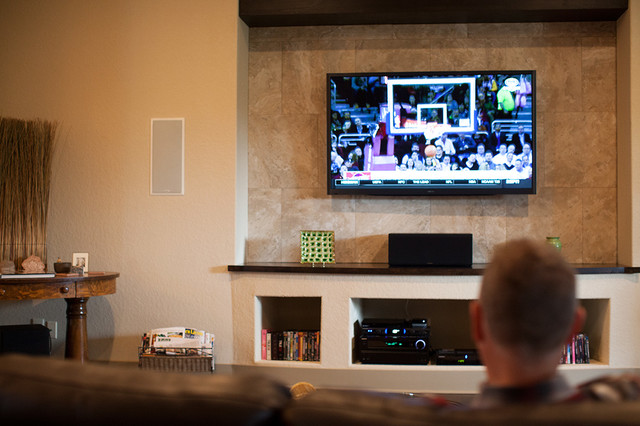 entertainment system rustic living room other by