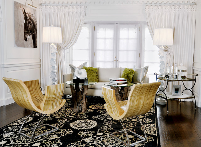 Large trendy open concept dark wood floor living room photo in Miami with white walls
