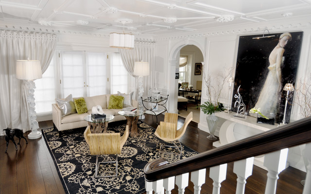 Inspiration for a large contemporary dark wood floor living room remodel in Miami with white walls