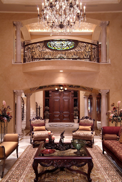 Entries hallways stairs traditional living room for Interior design of living room with stairs