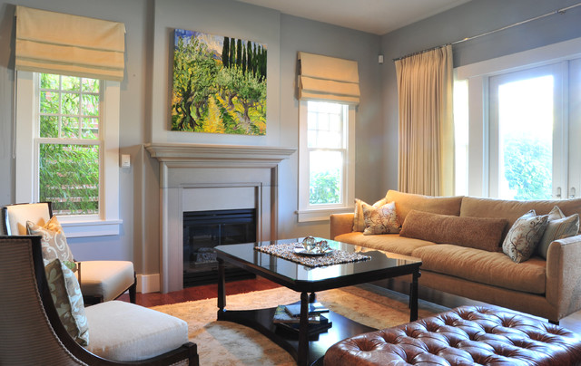 Mid Sized Traditional Living Room Idea In Vancouver With Blue Walls Part 47