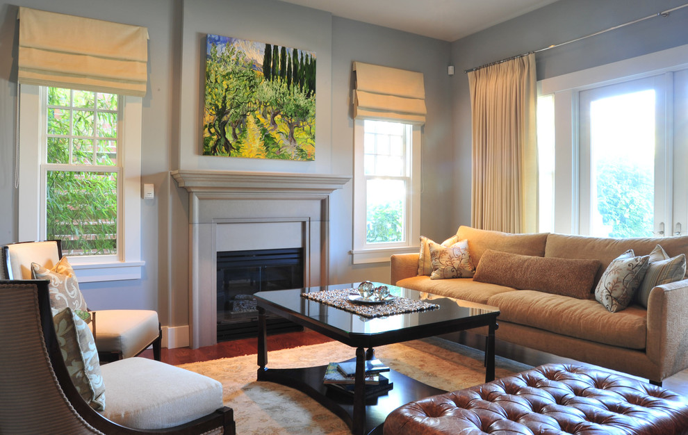 Living room - mid-sized traditional living room idea in Vancouver with blue walls