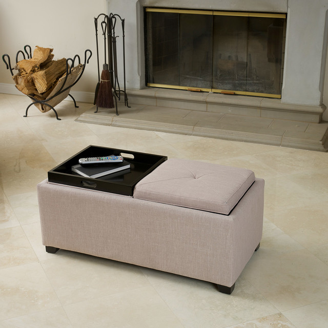 Footstool Coffee Table Tray: Ernest Beige Fabric Tray Ottoman