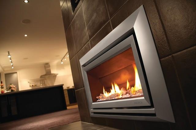 Escea Indoor Gas Metalic Silver Fireplace Velo Front
