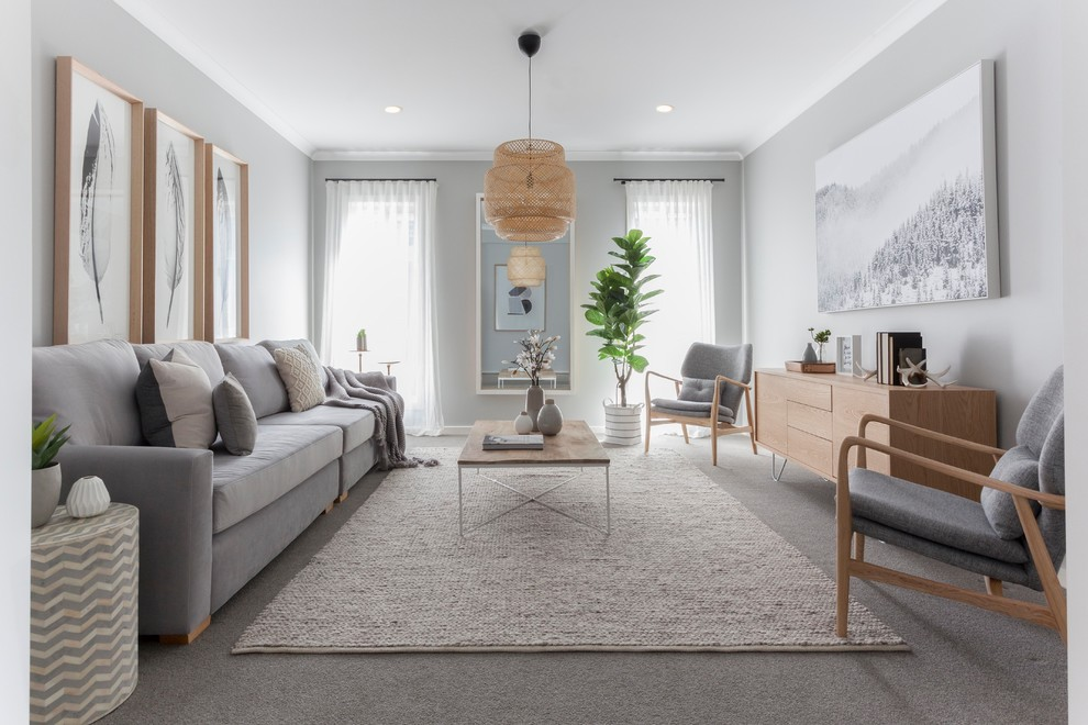 Danish formal and enclosed carpeted and gray floor living room photo in Melbourne with gray walls