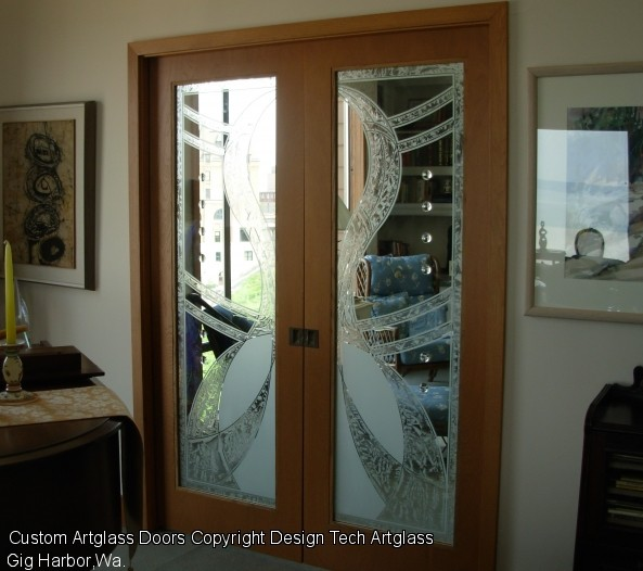 Etched sandblasted glass doors windows and privacy glass for Living room door designs
