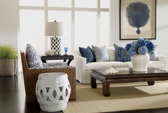 ETHAN ALLEN Coastal Elegance Beach Style Living Room Orange County
