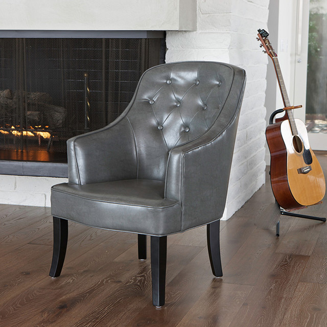 Ethan Dark Grey Leather Chair Modern Living Room