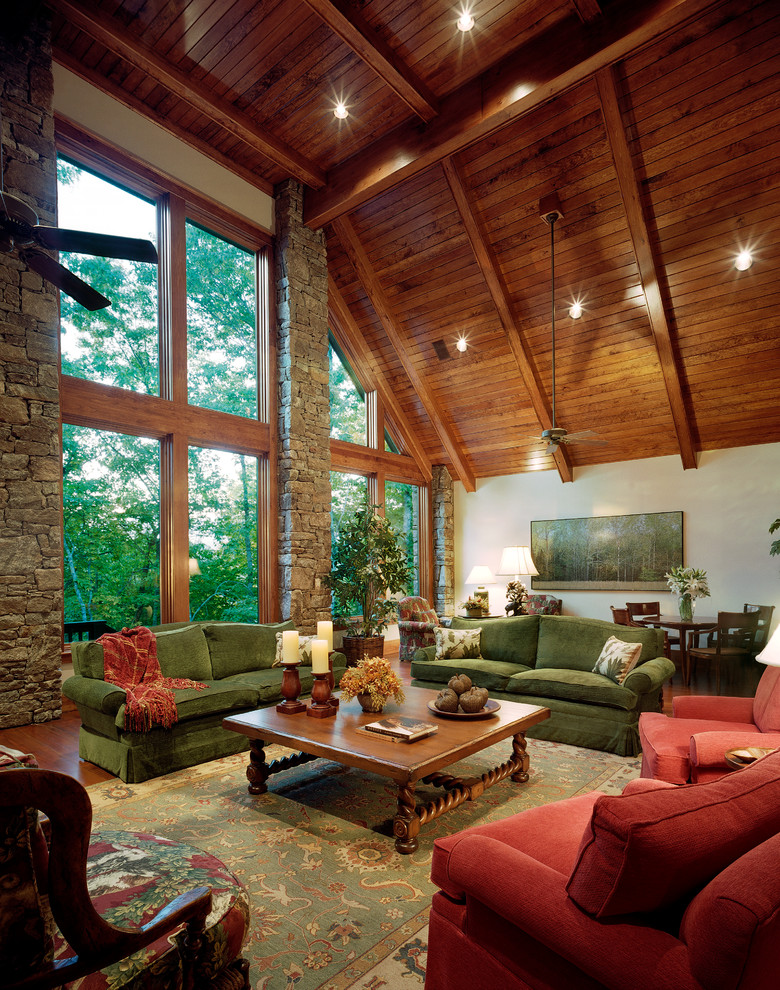 Example of a large mountain style living room design in Atlanta