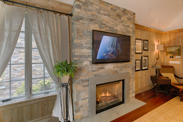 European style home with natural thin stacked stone - Wall cladding for living room ...