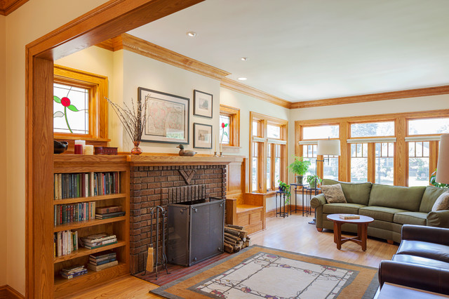 evanston bungalow addition traditional living room