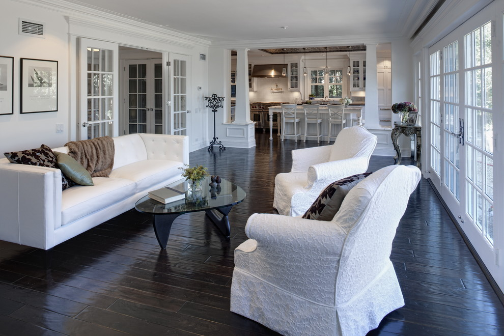 Living room - large traditional living room idea in Chicago with white walls