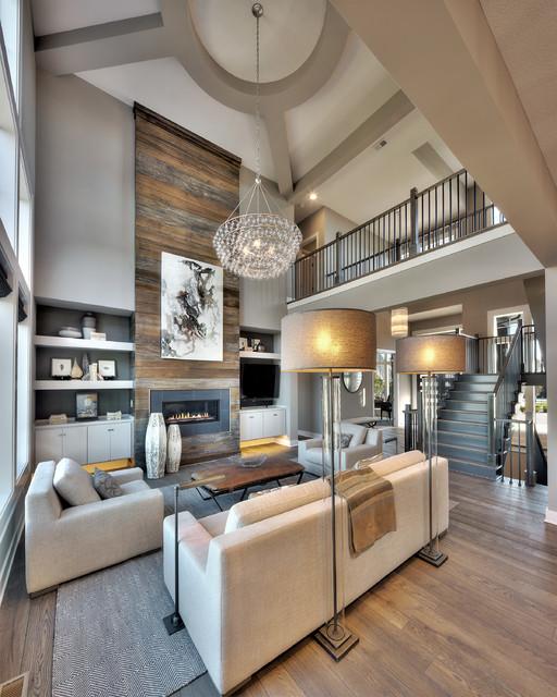 Everett Model - Mills Farm - Transitional - Living Room ...