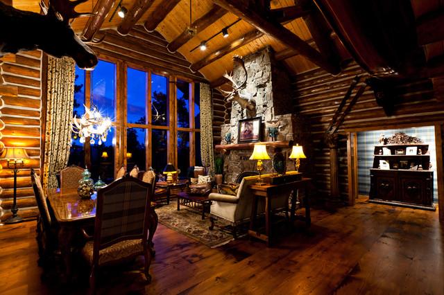 Evergreen Log Home Rustic Living Room Denver By Monica Durante Interiors Inc