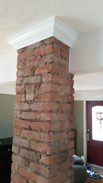 Exposed Chimney With Crown Molding Farmhouse Living Room