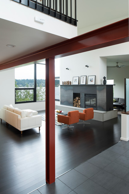 Exposed Steel Column And Beam In Living Room Modern Living Room Seattle By Cast Architecture