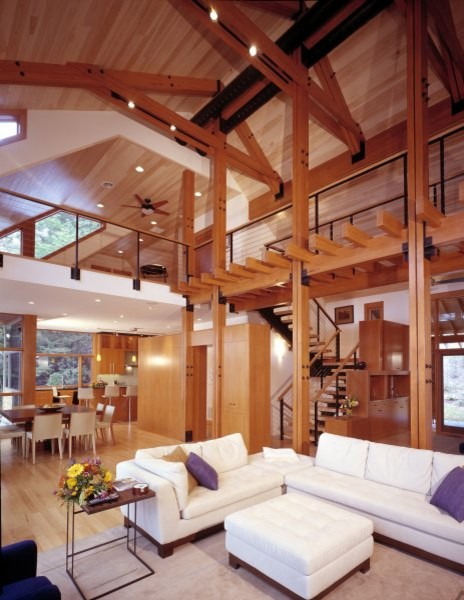 Exposed western red cedar beams and ceiling for Exposed beam ceiling living room