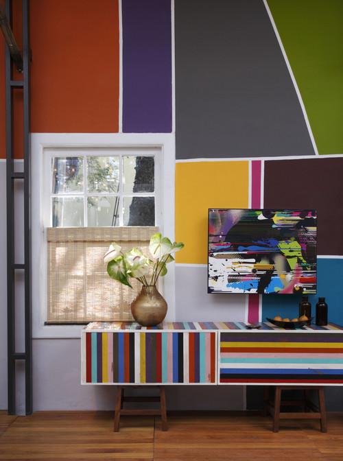 mur avec peinture en mosaïque de couleurs