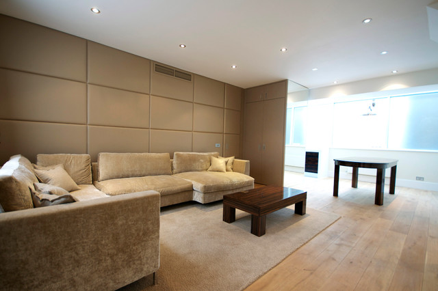 Fabric Wall Paneling Contemporary Living Room London