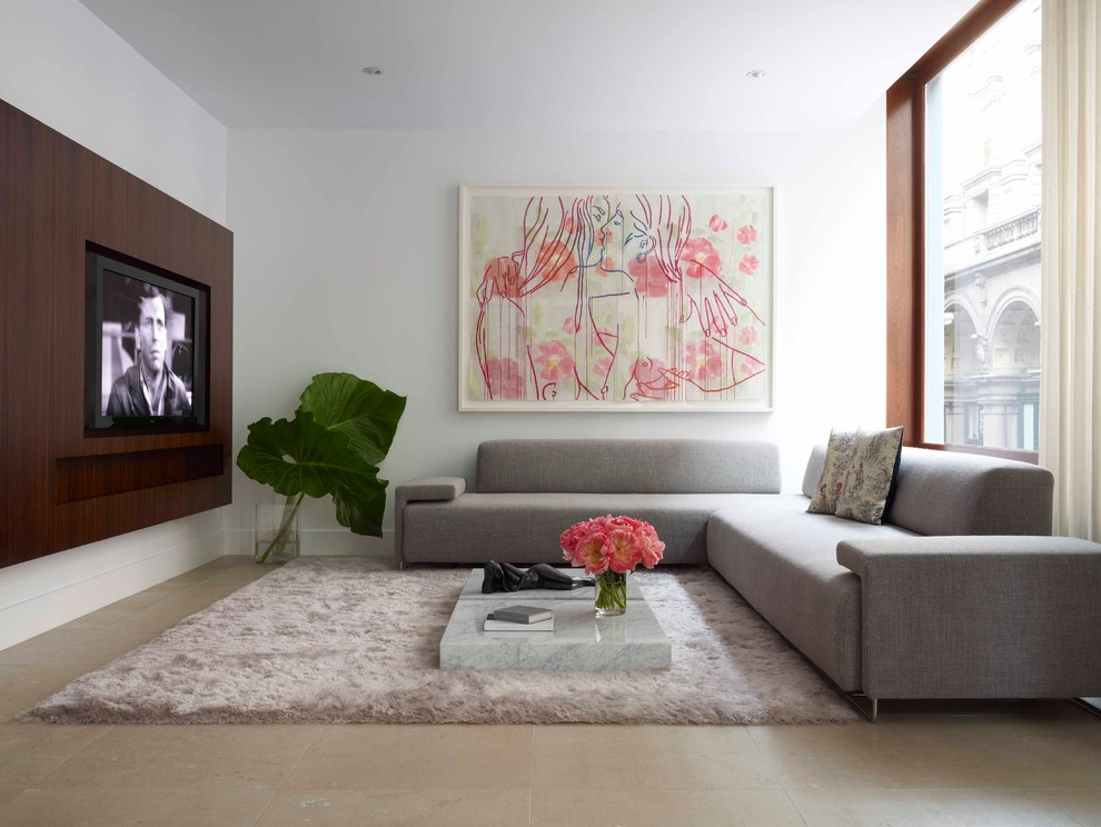 Inspiration for a contemporary living room remodel in New York