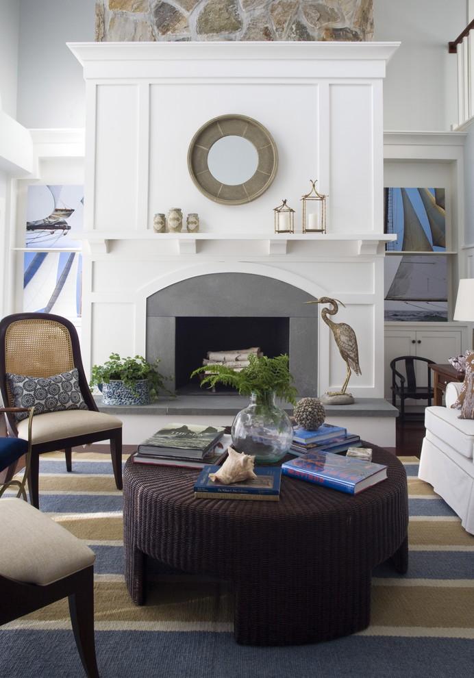 Living room - coastal living room idea in Providence