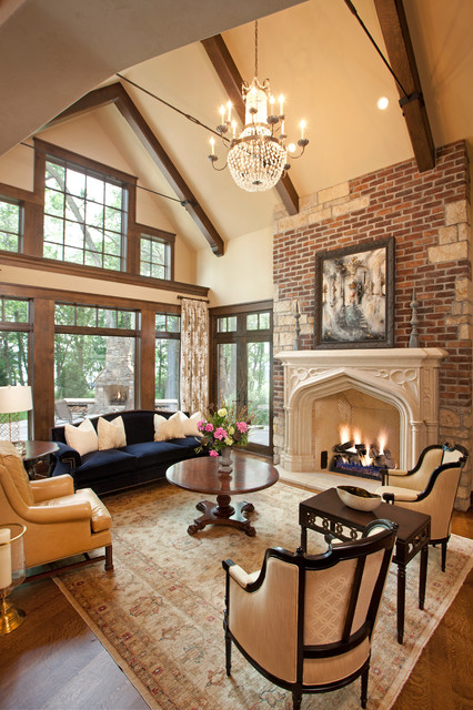 Fairytale tudor traditional living room minneapolis for Tudor interior design